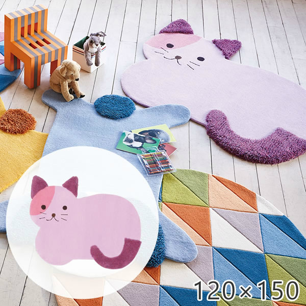 かわいい動物たちのふわふわラグマット キティ 120×150cm プレーベル