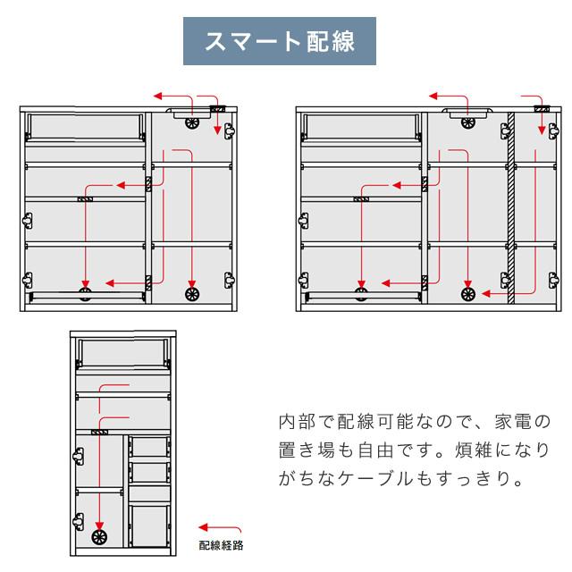 大容量リビング収納シリーズ パッチ2 サイドボード 幅130cm