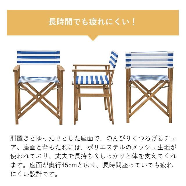折りたたみ可能で便利!リゾート気分でゆったりくつろげる NX-523 ディレクターチェア 東谷