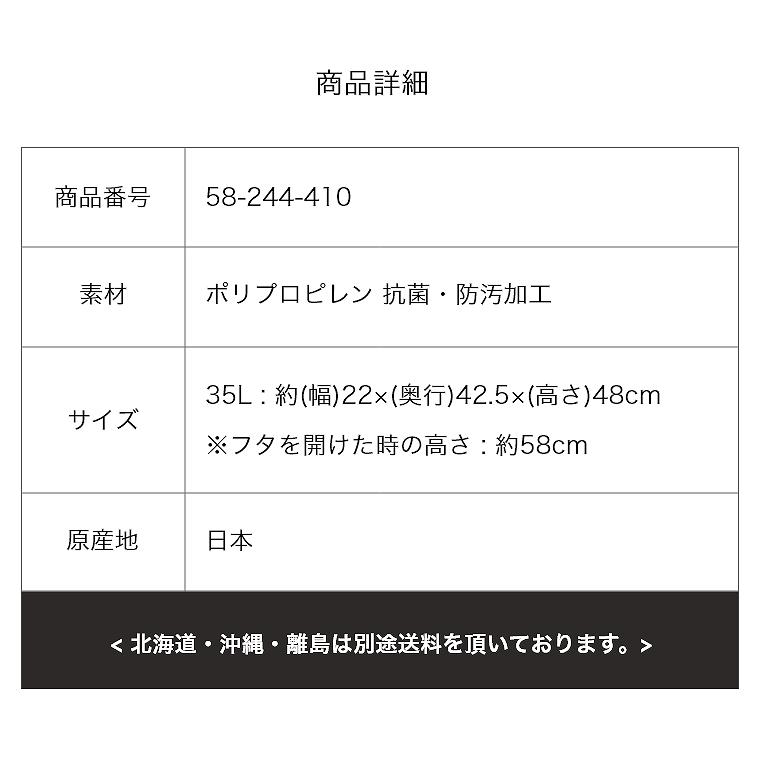 抗菌と防汚のダブル加工 ゴミ箱35L 日本製 コンパクトなペダルダストボックス 22×42.5×48cm 東谷