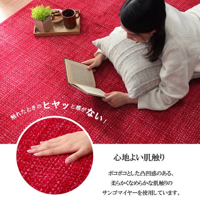 触れたときのヒヤッと感がない!7色から選べる!シンプルな無地のラグカーペット 90×185cm (手洗いOK&滑りにくい加工)