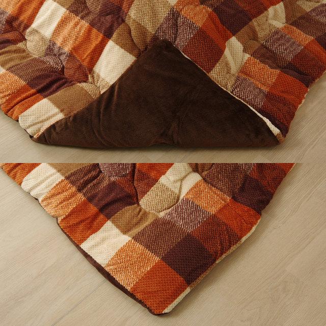 人気のチェック柄デザイン!柔らかい肌触りのこたつ掛け布団 (ズレ防止紐付き) 単品 190×190cm 正方形