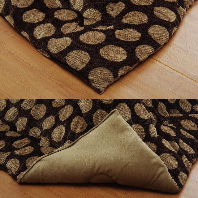 シンプルなドットデザイン!ふんわりやわらかな紐付きこたつ掛け布団 単品 190×190cm 正方形