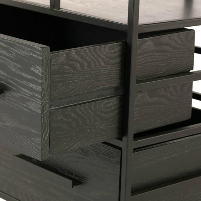 現代的なデザインと木目の深みの美しさを感じるシェルフ