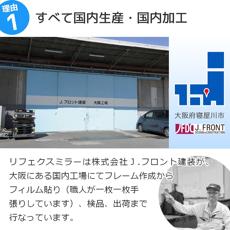 リフェクスミラーは、一般的なガラス鏡の約6分の1の軽さなので手軽に持ち運びできます。