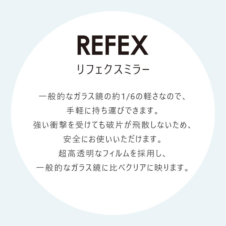 リフェクスミラー:一般的なガラス鏡の約1/6の軽さなので、手軽に持ち運びできます。
