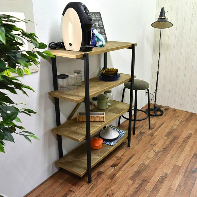古材風のパイン材とアイアンパイプがおしゃれな収納ラック KALEIDO カレイド 4段ラック 幅90cm