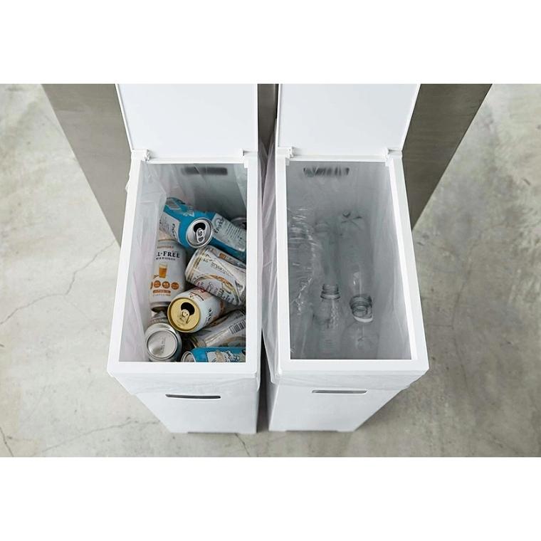 [ 山崎実業 tower/タワー ] ハサミでカットができる!スリム蓋付きゴミ箱 3個セット (分別できる/ゴミ箱/ダストボックス/折りたたみ/アウトドア/持ち手付き/キッチン雑貨)