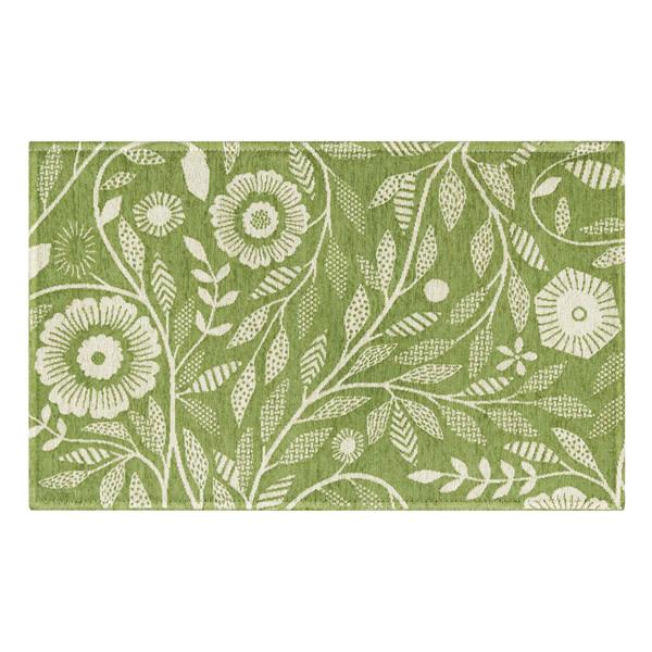 明るいグリーン色のゴブラン織マット アイヴィー 50×80cm スミノエ